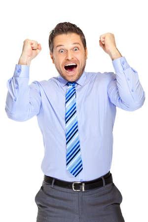 jubilate: Office clerk on white background