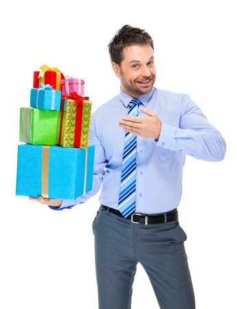 directive: Office clerk with gift box on white background