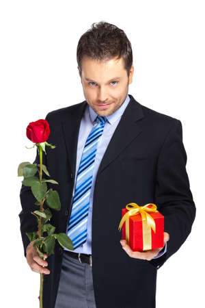courtship: Office clerk with red rose and gift box on white background Stock Photo