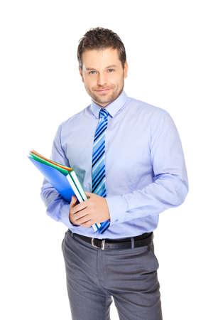 file clerks: Office clerk on white background
