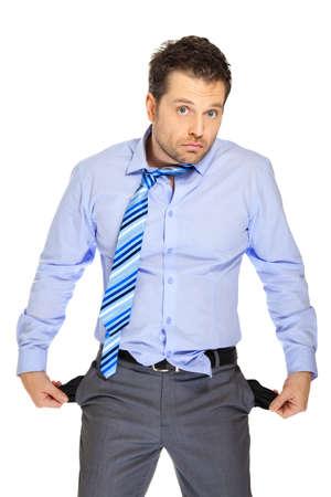 persona confundida: Empleado de oficina en el fondo blanco
