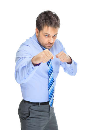 malice: Office clerk in boxing stance on white background Stock Photo