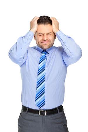 cephalgia: Office clerk on white background