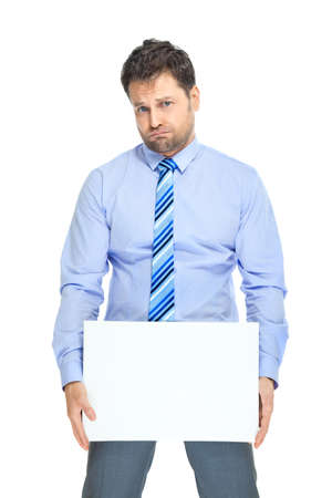 discontent: Office clerk with placard on white background Stock Photo