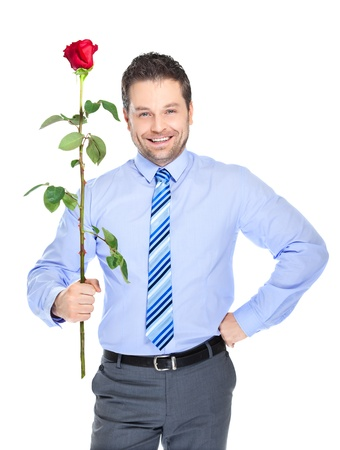 courtship: Office clerk with red rose on white background
