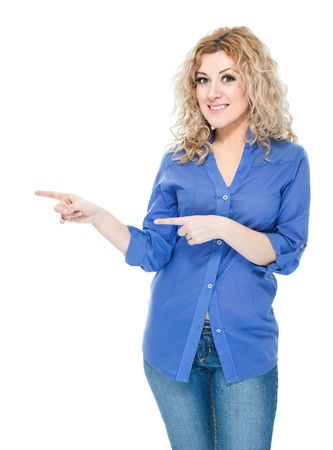 directive: Attractive blond hair woman on white background