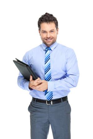 oficinista: Empleado de oficina en el fondo blanco