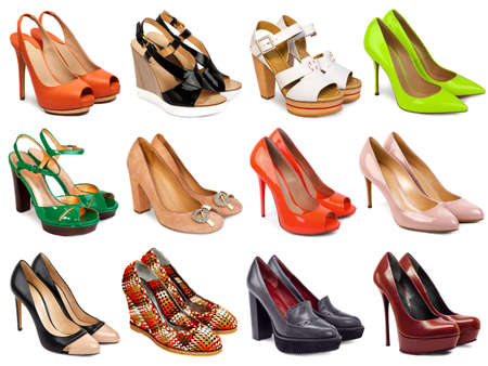 women s fashion: Female footwear collection on white background Stock Photo