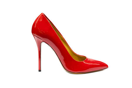 stilleto: Female shoes on white background