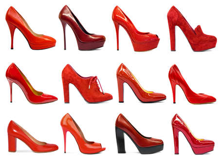 stilleto: Red female footwear collection on white background