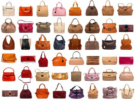 Colección de los bolsos femeninos en el fondo blanco