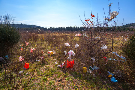 polluted by plastic bags field