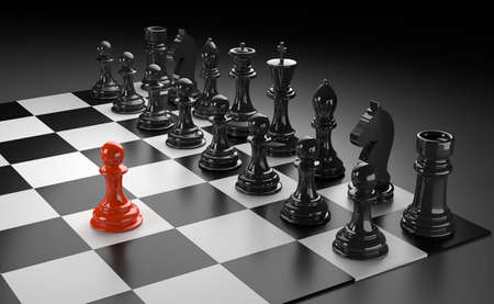 3D illustration of different chess figures and chess scenes Stock Photo