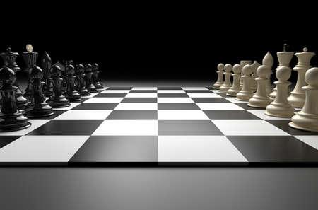 異なるチェス数字とチェスのシーンの 3 D イラストレーション