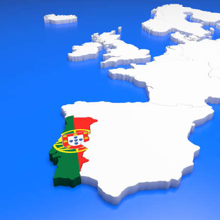 3D Illustration Of Portugal On A European Map Stock Photo, Picture ...