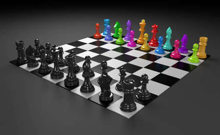 3D illustration of different chess figures and chess scenes Reklamní fotografie