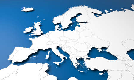 3D illustration of Europe map