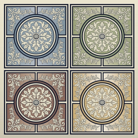 Vintage background seamless tiles in four different colors