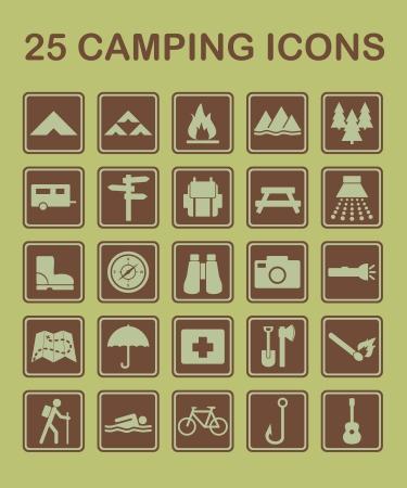Ensemble d'ic�nes de camping et nature li�s