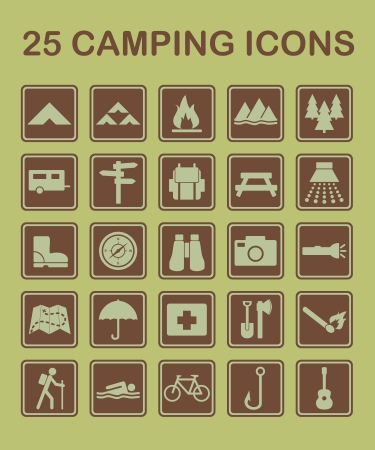 camping: Set of camping and nature related icons
