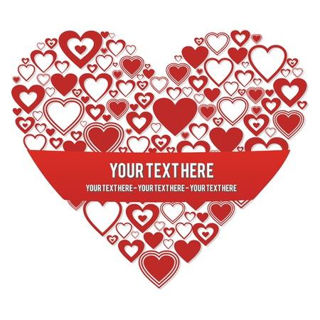 coeur avec une banni�re pour l'entr�e de texte personnalis�