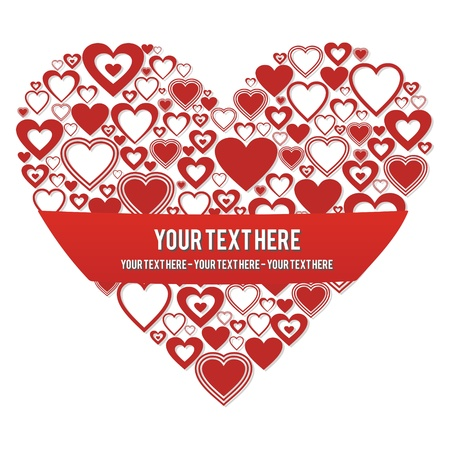 heart with a banner for custom text input  Vectores