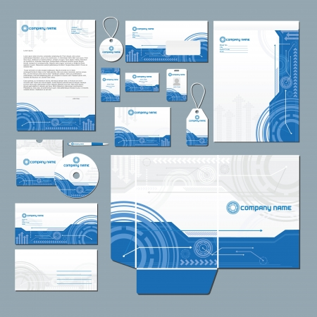 Stationery set with technology inspired illustration  Vector