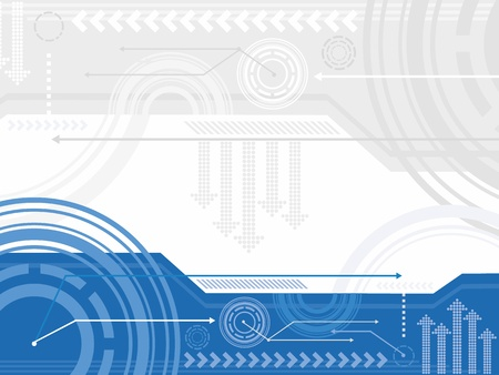 Technology inspired background in blue, white and gray  Illustration