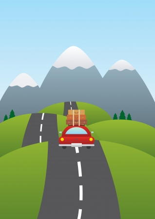 trip travel: illustration of a car on a road with mountains in background