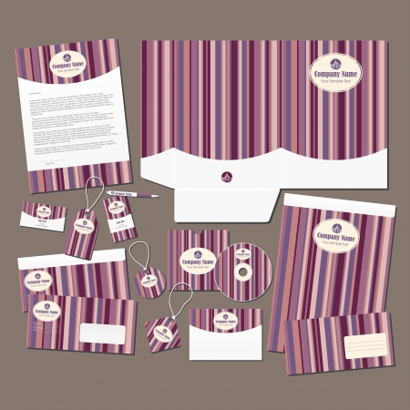 Stationery set with pink stripes  All elements are on separate layers for easy editing  Vectores