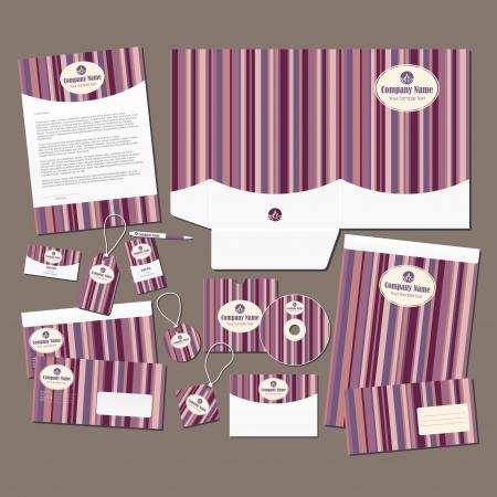 Papeterie r�gl�e avec rayures roses Tous les �l�ments sont sur des couches s�par�es pour l'�dition facile