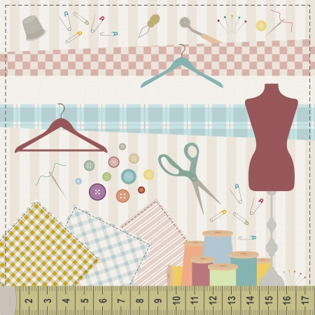 Colorful illustration of various sewing tools and fabrics.