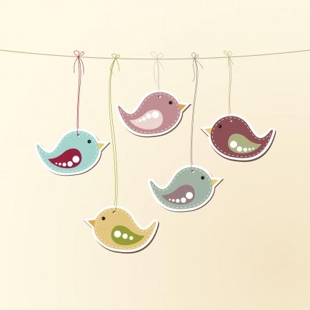 aves: ilustra��o de p�ssaros bonitos pendurados em uma corda. Ilustra��o