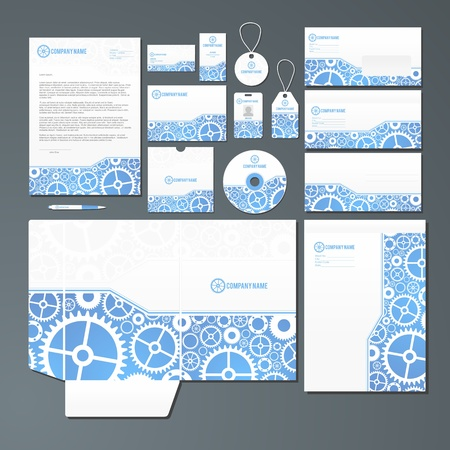 Stationery set with mechanics inspired illustration. All items are grouped and on separate layes for easy editing.