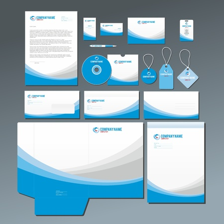 Stationery set con grafici astratti blu e grigio. Tutti gli articoli sono raggruppati e layes separati per un facile montaggio. Vettoriali