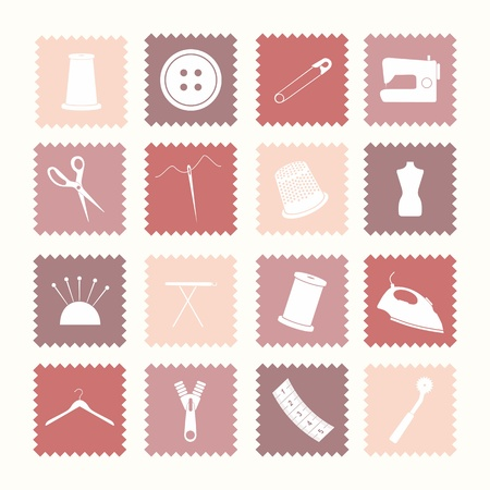 Sixteen sewing icons. All icons are grouped and on separate layers for easy editing. Vector