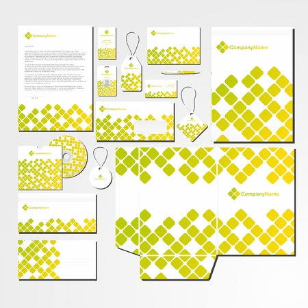 Stationery set with abstract  pattern in green and yellow. All items are on separate layers for easy editing. Vectores