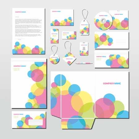 Stationery set with colorful circles pattern. All items are on separate layers for easy editing.