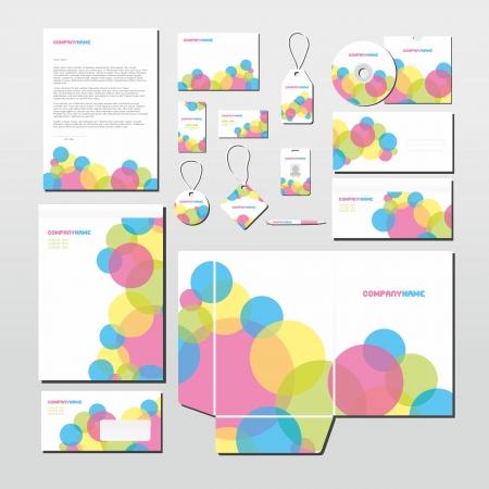 Papeterie d�finir avec le mod�le de cercles color�s. Tous les articles sont sur des calques s�par�s pour l'�dition facile.