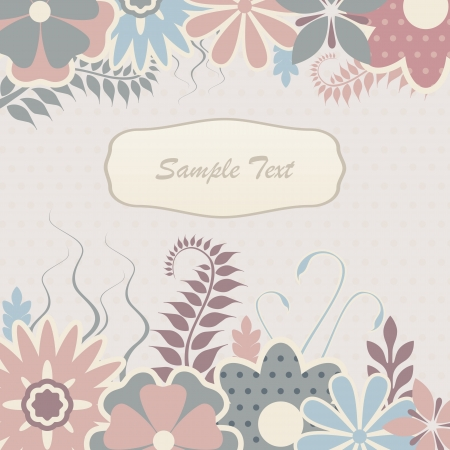 Vector background with scrapbook flowers and foliage.