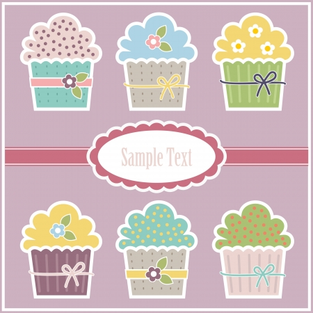 Colorful greeting card with illustration of cupcakes and space for custom text. Vector
