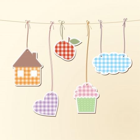 illustration de divers objets suspendus sur des cordes.