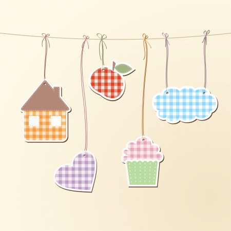 illustration of various objects hanging on strings.