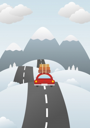 family trip: Vector illustration of a winter landscape with a car on road.