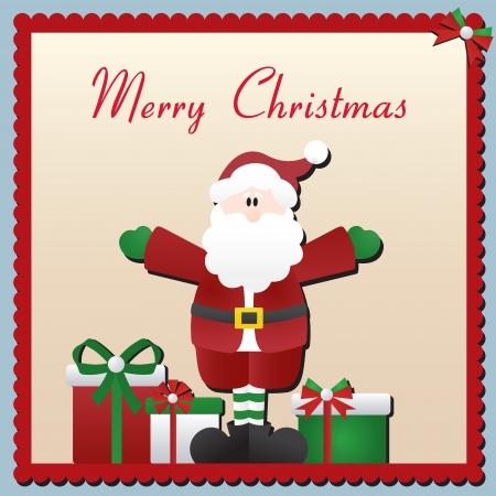 nicholas: Vector Christmas card with Santa Claus and presents