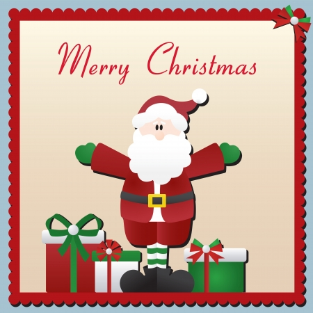 Vector Christmas card with Santa Claus and presents