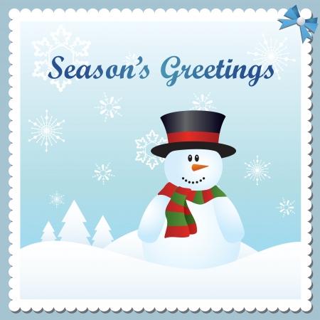 Carte de voeux de bonhomme de neige saison vecteur s Illustration