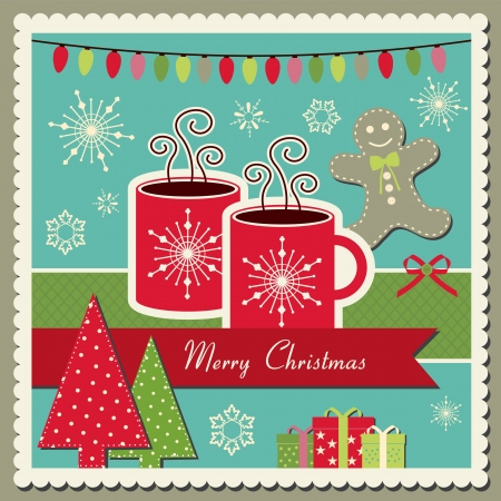 scrapbook Christmas card with hot chocolate Vectores