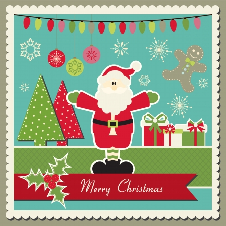 Scrapbook inspired  Christmas card with Santa Claus Vector