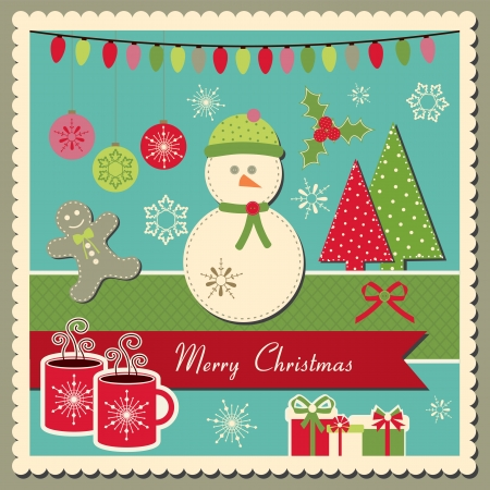 Scrapbook inspired  scrapbook Christmas card with snowman Vector